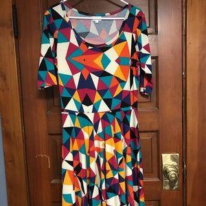 LuLaRoe midlength multicolor dress size L